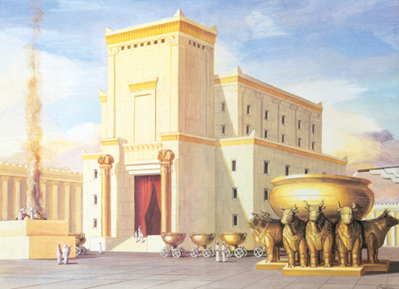 An artistic depiction of the first temple. Image Credit: Wikimedia Commons.