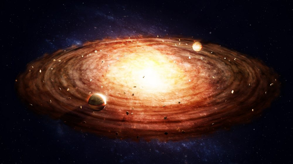 Artists rendering of the birth of a solar system and the protoplanetary disk. Shutterstock.