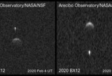 Range-Doppler radar images of binary near-Earth asteroid 2020 BX12. Image Credit: Arecibo Observatory / Planetary Radar Science Group.
