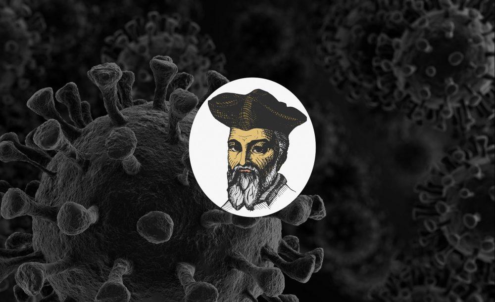 Artists rendering of Nostradamus and the Virus Coronavirus. Shutterstock.