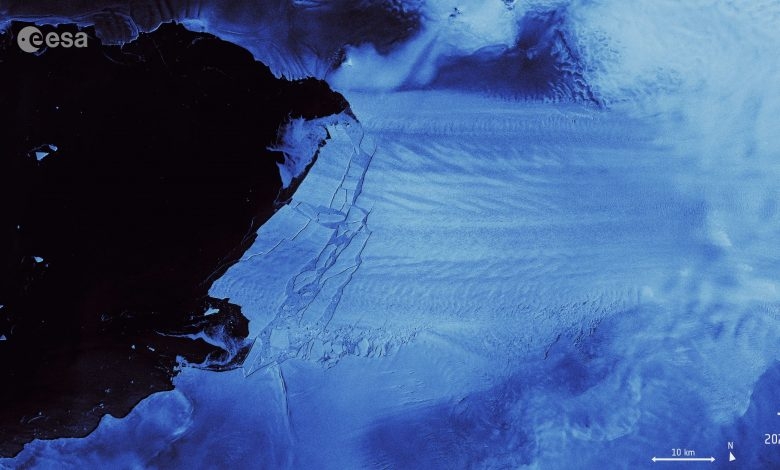 A satellite image of the Iceberg that broke off of Antarctica. Image Credit: ESA.
