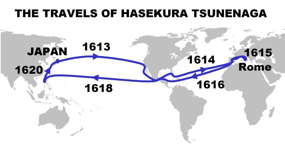 Itinerary and dates of the travels of Hasekura Tsunenaga. Image Credit: Wikimedia Commons / Public Domain.