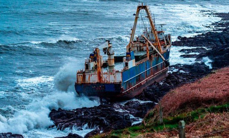 An image of the 77-meter-long cargo vessel the MV Alta, snagged on the rocks of the Irish Coast. Irish Times / Irish Coast Guard.