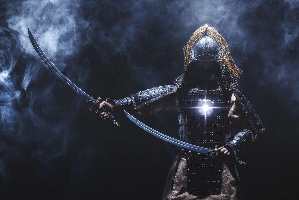 an artists rendering of a Japanese Samurai. Shutterstock.