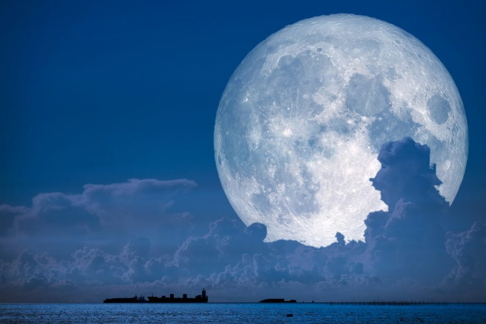 An artists rendering of the Super Snow Moon. Shutterstock.