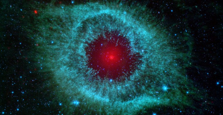 An image of the Helix Nebula as seen in infrared light by the Spitzer space telescope. Image Credit: NASA / JPL-Caltech/ University of Ariz.