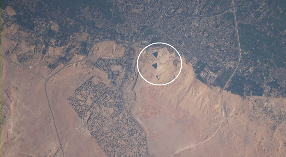 An image of the Pyramids of Giza and the Great Sphinx from space. Image Credit: Reddit / International Space Station.