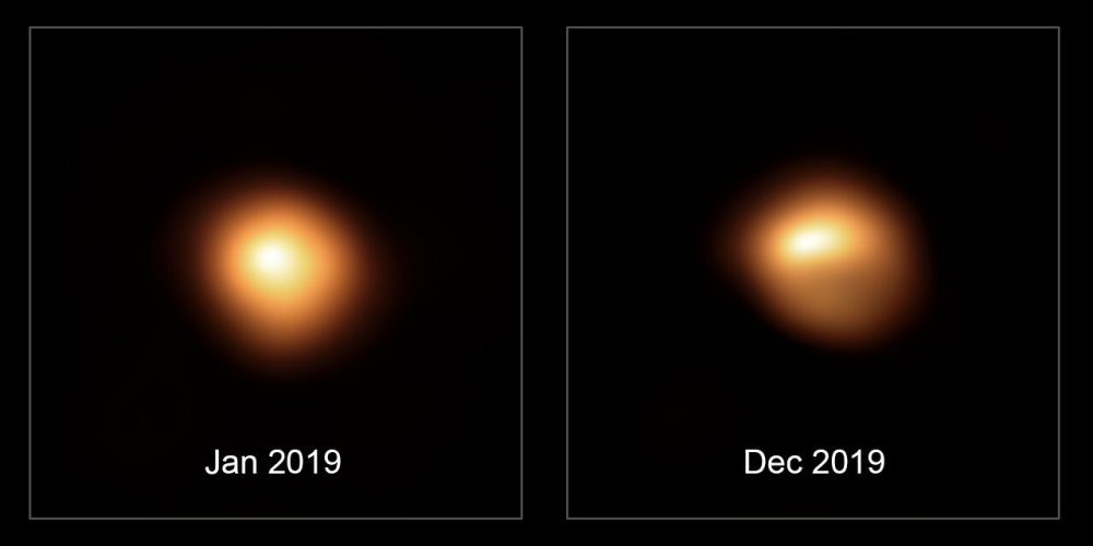 This comparison image shows the star Betelgeuse before and after its unprecedented dimming. Image Credit: ESO/M. Montargès et al.