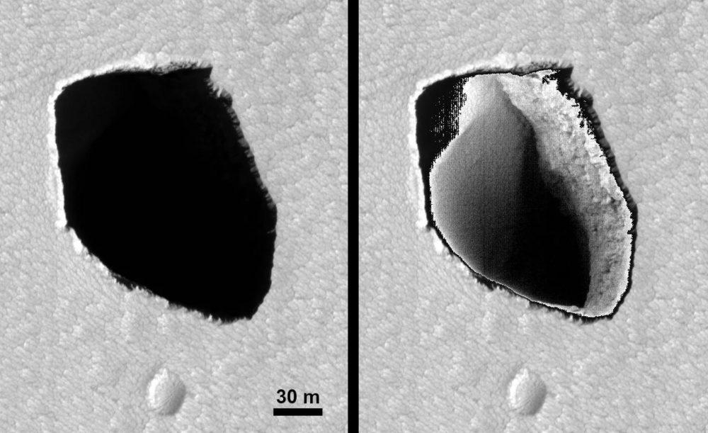 A dark pit on Mars and an enhanced version. Image Credit: NASA/JPL/University of Arizona.