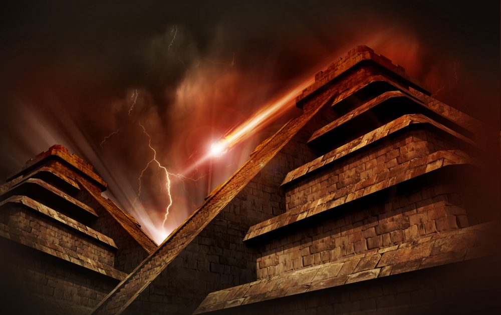 An artist's rendering showing a comet impact near ancient temples. Shutterstock.