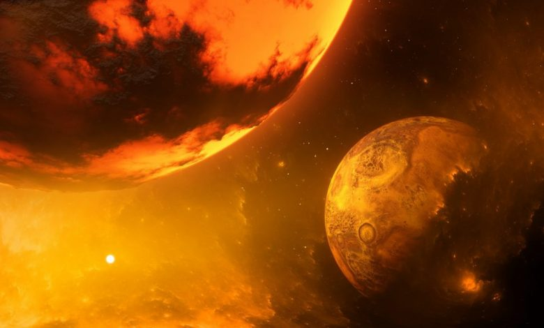 An artists rendering showing Theia and early Earth in collision. Shutterstock.