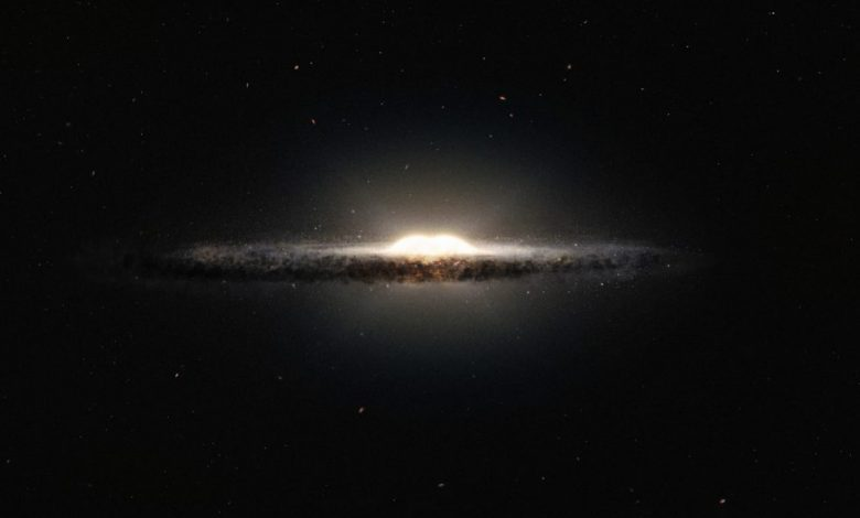Seen here is an artist's impression of how the Milky Way galaxy would look seen from almost edge on and from a very different perspective than we get from the Earth. Image Credit: Wikimedia Commons.