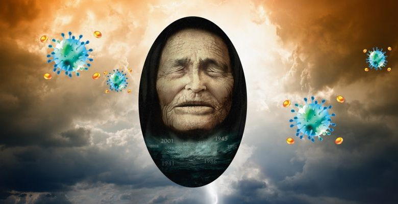 An artists rendering of Baba Vanga and COVID-19 elements. Shutterstock.
