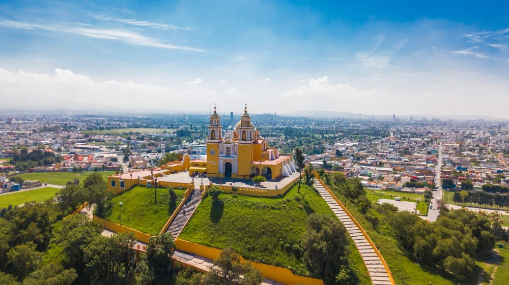 The Colonial church built atop the Great Pyramid of Cholula near Puebla, Mexico. Shutterstock.