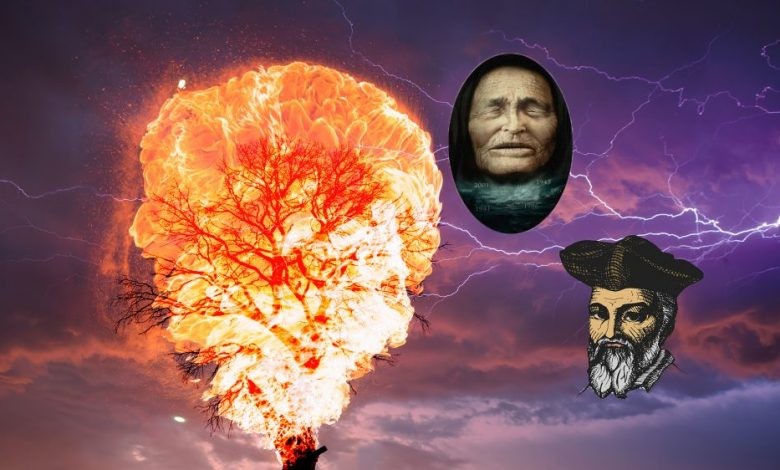An artists rendering of a lighting background with a burning tree and the illustrations of Baba Vanga and Nostradamus. Shutterstock / Curiosmos.