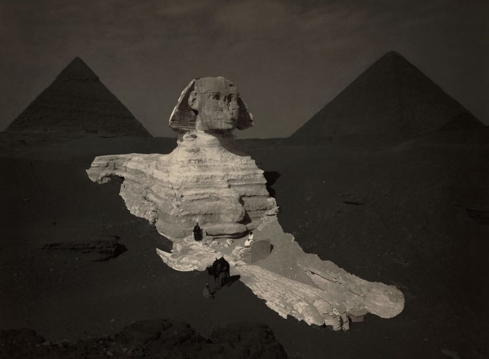 An image of the Sphinx circa 1878 where the statue remains partially excavated. Image Credit: Wikimedia Commons / Public Domain.