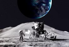 An image of a NASA Astronaut on the Moon's surface with the Earth in the background. Shutterstock.