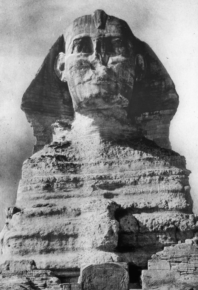 Seen here is a rare ancient photograph of the Great Sphinx before restorations. Frontal view of the monument. Image Credit: Wikimedia Commons / Public domain.