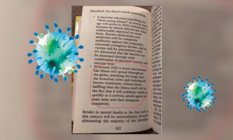 A screenshot form Sylvia Browne's Book the End of Days where the author supposedly predicted the outbreak of the COVID-19 Coronavirus. Elements in this image: Curiosmos / Shutterstock.