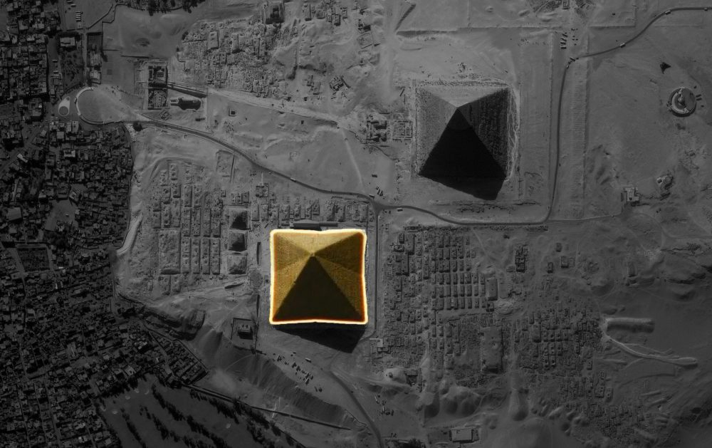 An erial view of the Giza pyramids and the eight sides of Khufu's Great Pyramid.