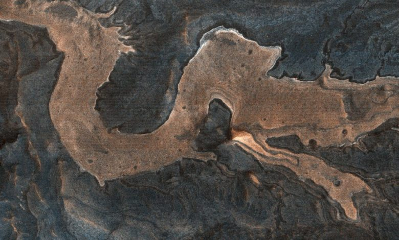 """A HiRISE image of a """"dragon"""" on the surface of Mars. The image actually shows the Melas Chamnsa region on Mars, an unusually blocky deposit composed of light-toned blocks in a darker matrix. Image Credit: HiRISE / NASA."""