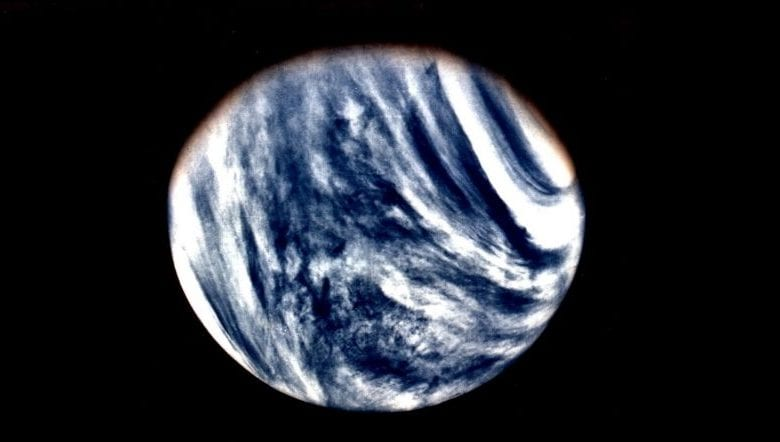 A global View of Venus in ultraviolet light as seen by Mariner 10. Image Credit Wikimedia Commons Public Domain.