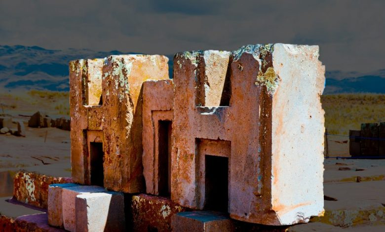 A close-up image of the h-blocks at Puma Punku. Shutterstock.