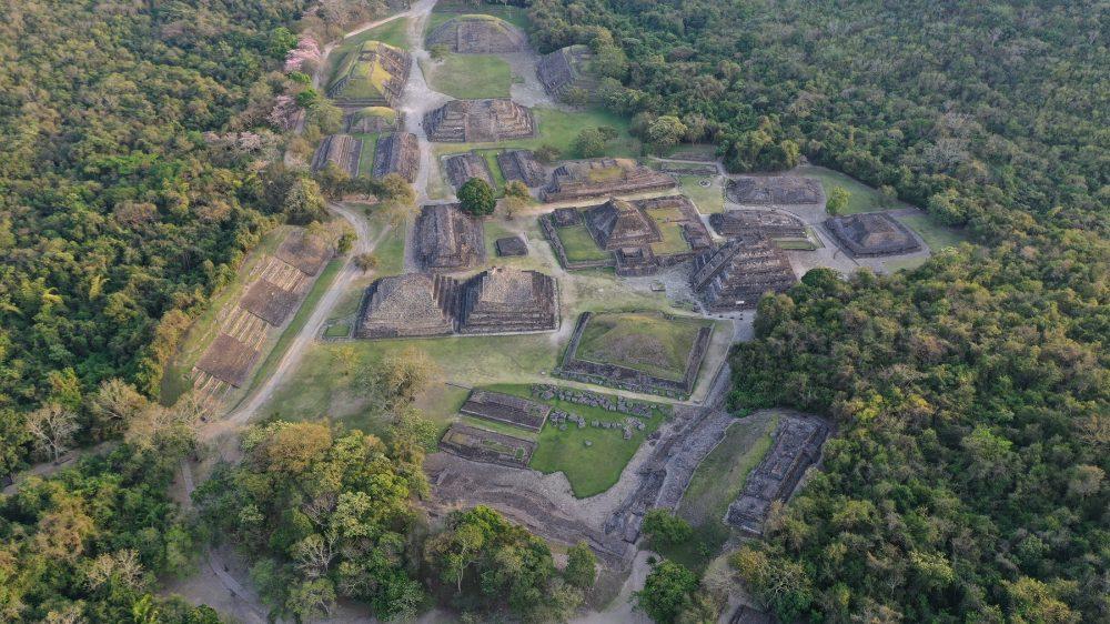 An aerial view of El Tajin's Ancient Pyramids. Shutterstock.