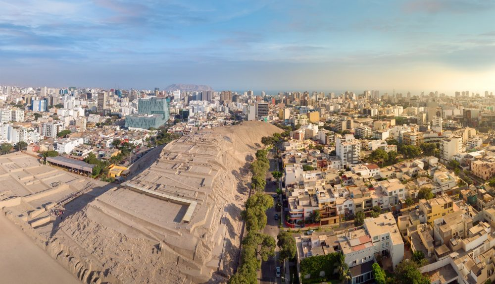 Aerial view of the Huaca Pucllana archaeological complex and Miraflores district, in Lima, Peru. Shutterstock.