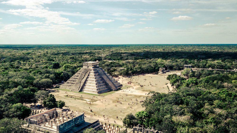 An Aerial View of El Castillo Pyramid at Chichen Itza. Shutterstock.