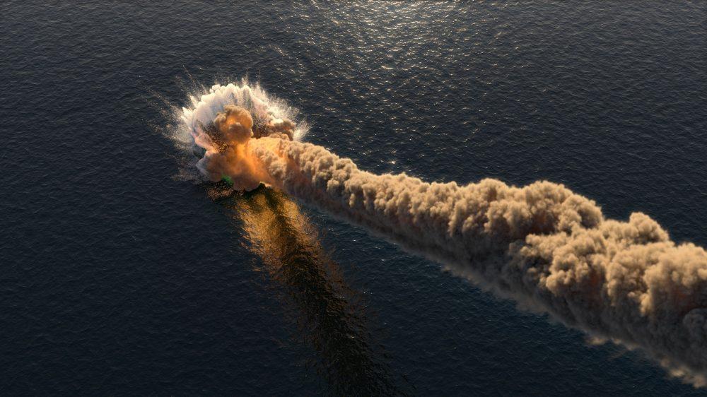 An artist's rendering of a meteorite falling into the ocean. Shutterstock.