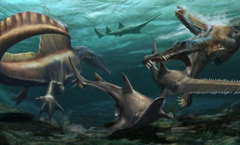 An artists illustration of a swimming dinosaur. Image Credit: Jason Treat, NG Staff, and Mesa Schumacher Art: Davide Bonadonna Source: Dr. Nizar Ibrahim, University of Detroit Mercy.