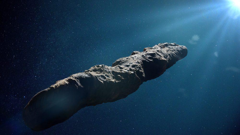 An artist's rendering of interstellar object Oumuamua. Shutterstock.