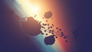 Artists rendering of asteroids in orbit. Shutterstock.