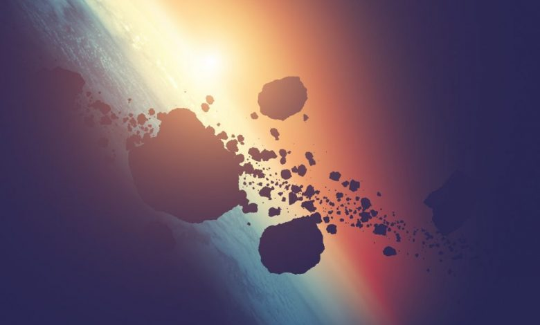 Artists rendering of asteroids in orbit. Shutterstock.