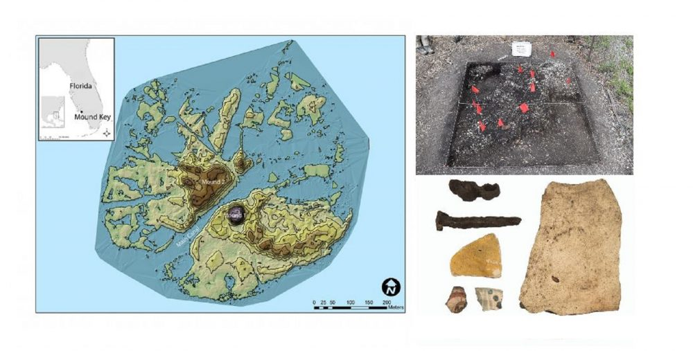 A collage showing the location of the lost fort as well as some of the artifacts recovered by archaeologists. Image Credit: Florida Museum.