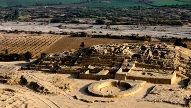 "An aerial view of the ""citadel"" Pyramid of Caral. Image courtesy: peru.travel."