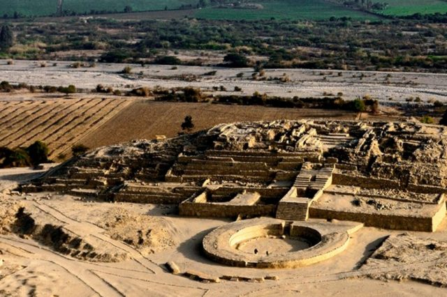"""An aerial view of the """"citadel"""" Pyramid of Caral. Image courtesy: peru.travel."""