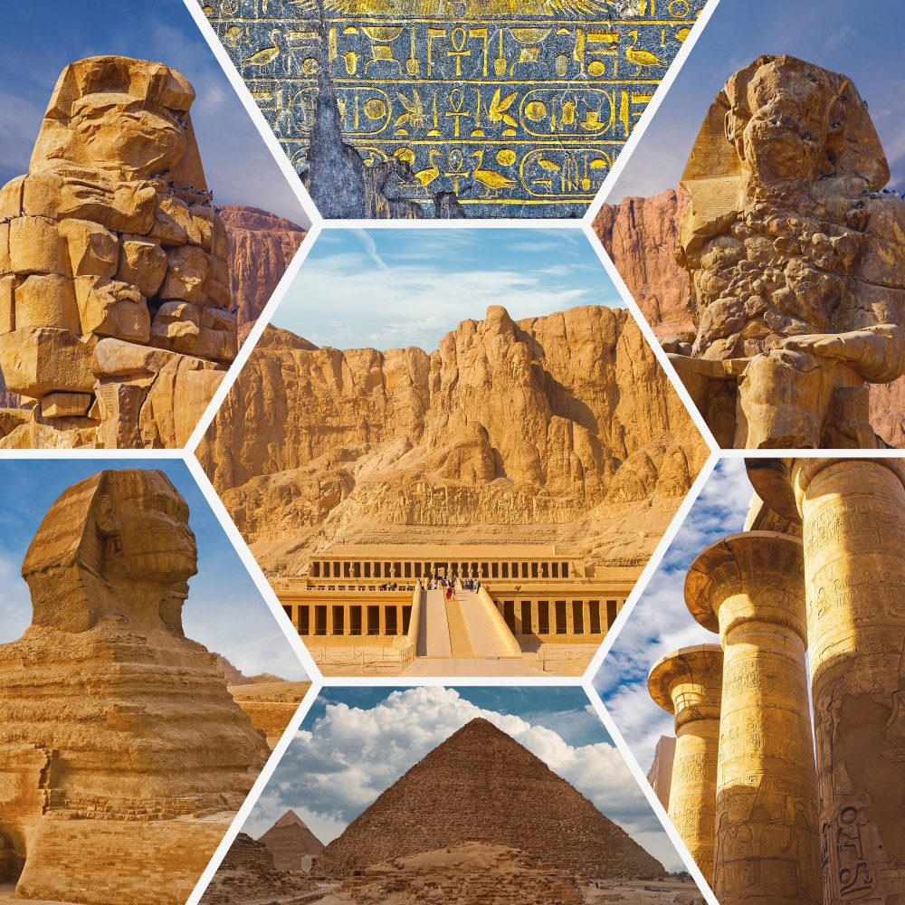 A collage of various ancient sites from Egypt. Shutterstock.