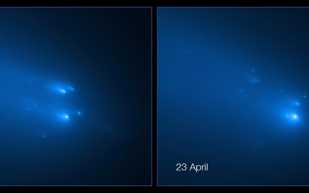 Two images taken on April 20 and April 23 showing the disintegration of comet C/2019 Y4 ATLAS. Image Credit: NASA, ESA, D. Jewitt (UCLA), Q. Ye (University of Maryland).