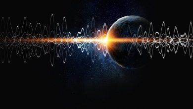 An artist's rendering of seismic waves and Earth in the background. Shutterstock.