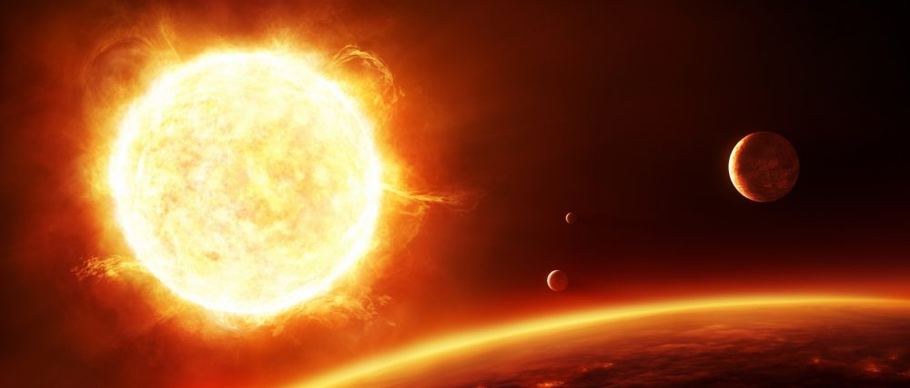 An artists rendering of a distant solar system with various exoplanets. Shutterstock.