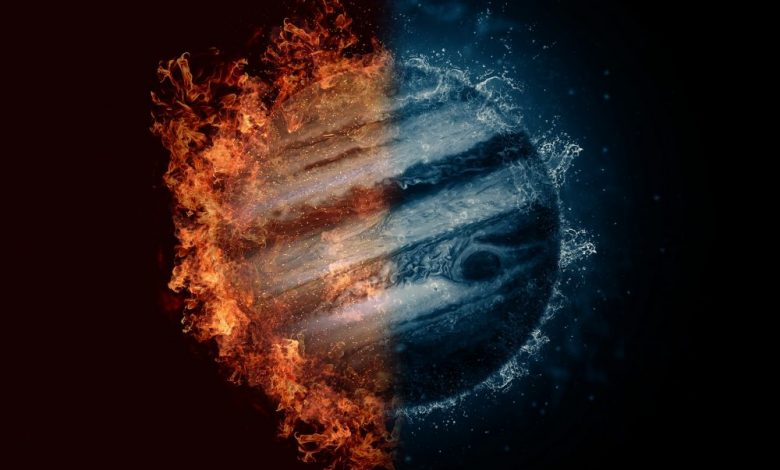An artists rendering of Jupiter with elements of fire and water. Shutterstock.