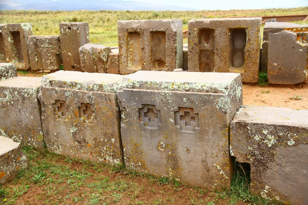 An image of the intricately carved stones found at the Puma Punku complex. Shutterstock.