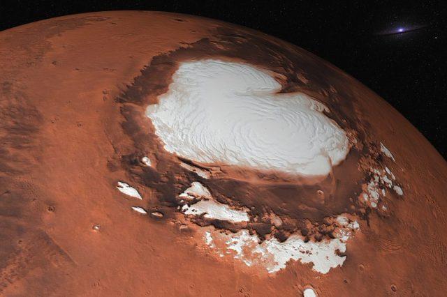An artist's rendering of Mars' Ice Caps. Shutterstock.