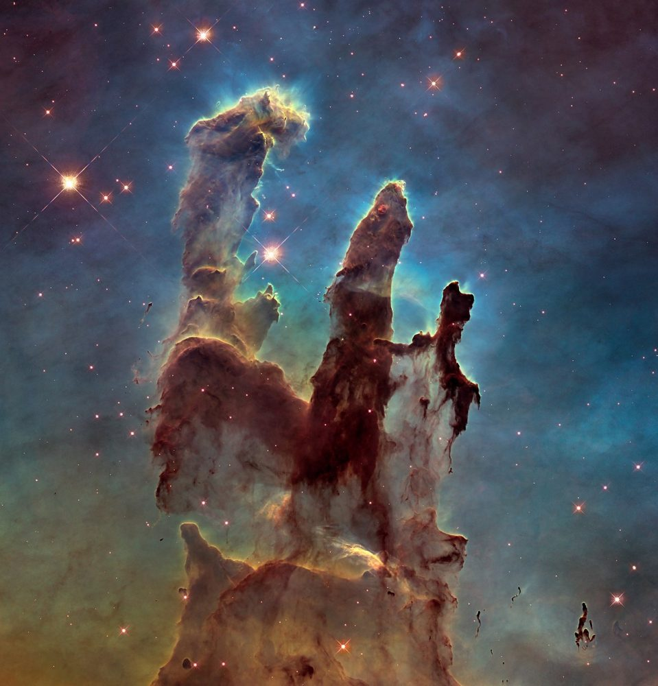 This is one of Hubble's most famous images, Pillars of Creation, shows stars forming in the Eagle Nebula. Image Credit: NASA, ESA, and the Hubble Heritage Team (STScI/AURA).