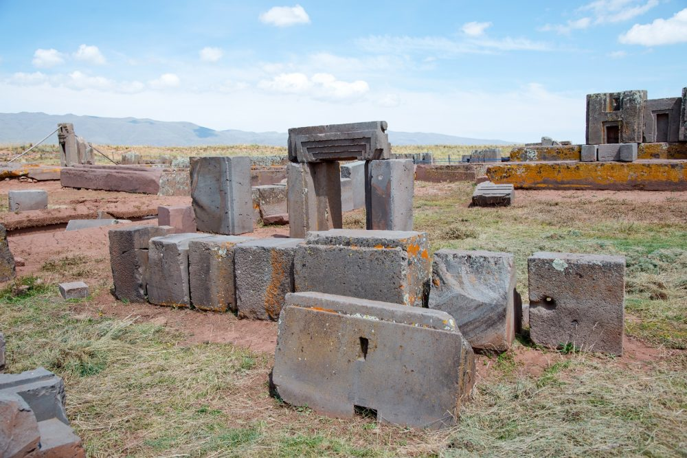 An image of the multi-ton stones at Puma Punku. Many of these stones originate from distant quarries up to 100 Kilometers away. Shutterstock.