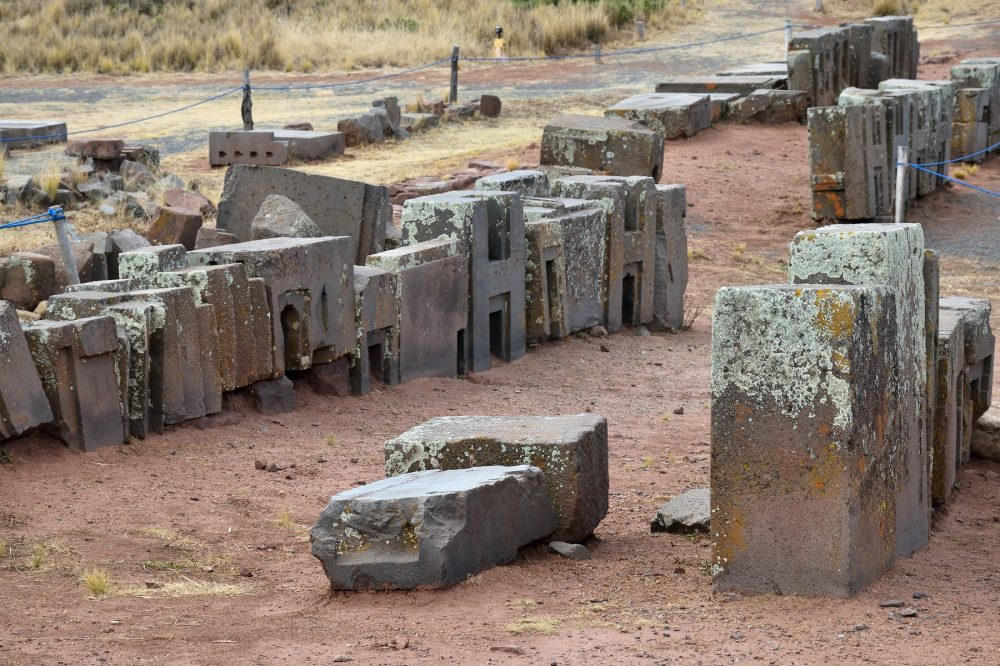 An image of the intricately carved stones at the Puma Punku complex. Most of the stones weigh several tons. Shutterstock.
