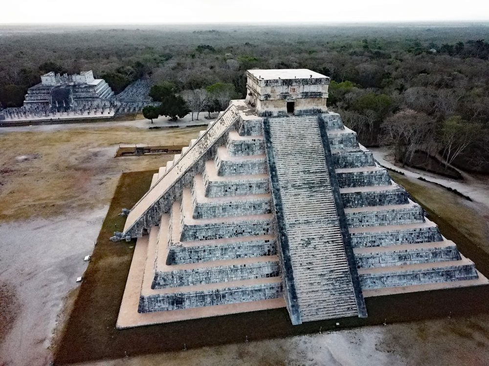 Aerial image of the pyramid of El Castillo, also known as the temple of Kukulkan at Chichen Itza. Shutterstock.