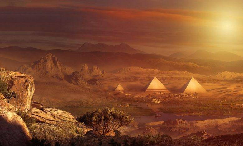 An artist's rendering of what the restored pyramids and Sphinx at Giza may have looked like in the past. Shutterstock / Curiosmos.